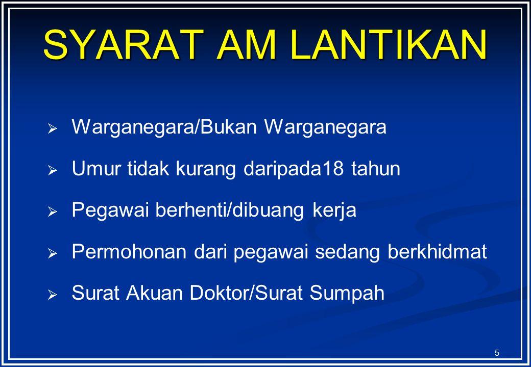 SYARAT AM LANTIKAN Warganegara/Bukan Warganegara