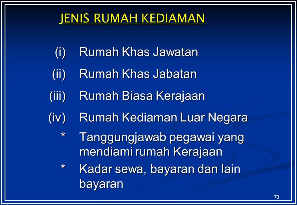 JENIS RUMAH KEDIAMAN (i) Rumah Khas Jawatan. (ii) Rumah Khas Jabatan. (iii) Rumah Biasa Kerajaan.