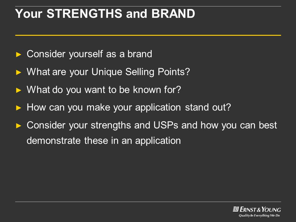 Your STRENGTHS and BRAND