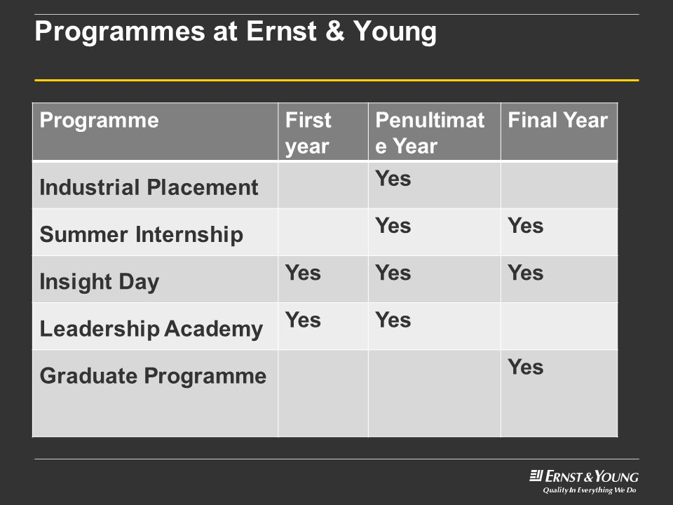 Programmes at Ernst & Young