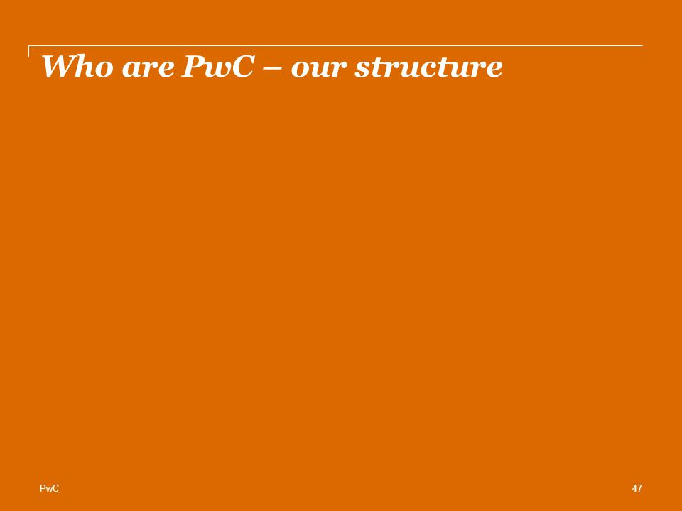 Who are PwC – our structure