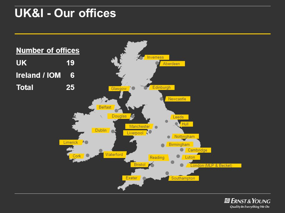 UK&I - Our offices Number of offices UK 19 Ireland / IOM 6 Total 25