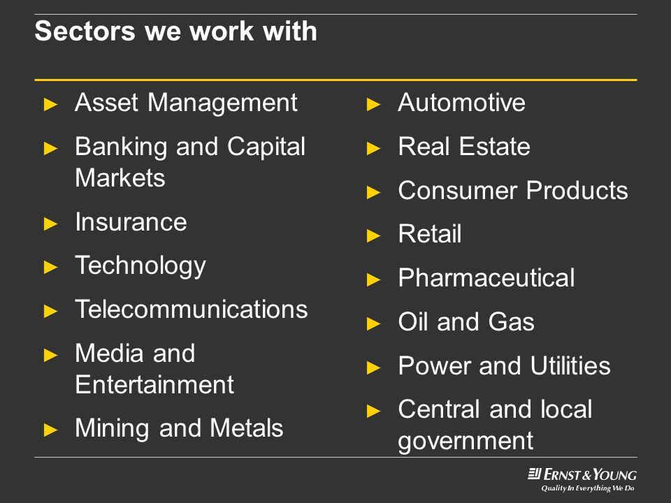 Sectors we work with Asset Management Banking and Capital Markets