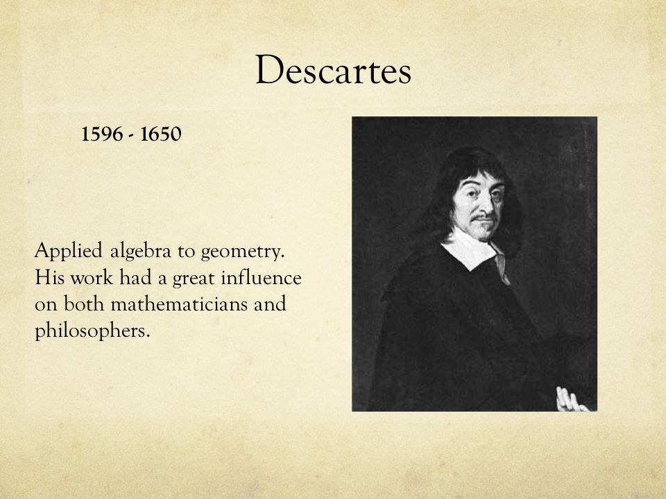 Descartes 1596 - 1650. Applied algebra to geometry.