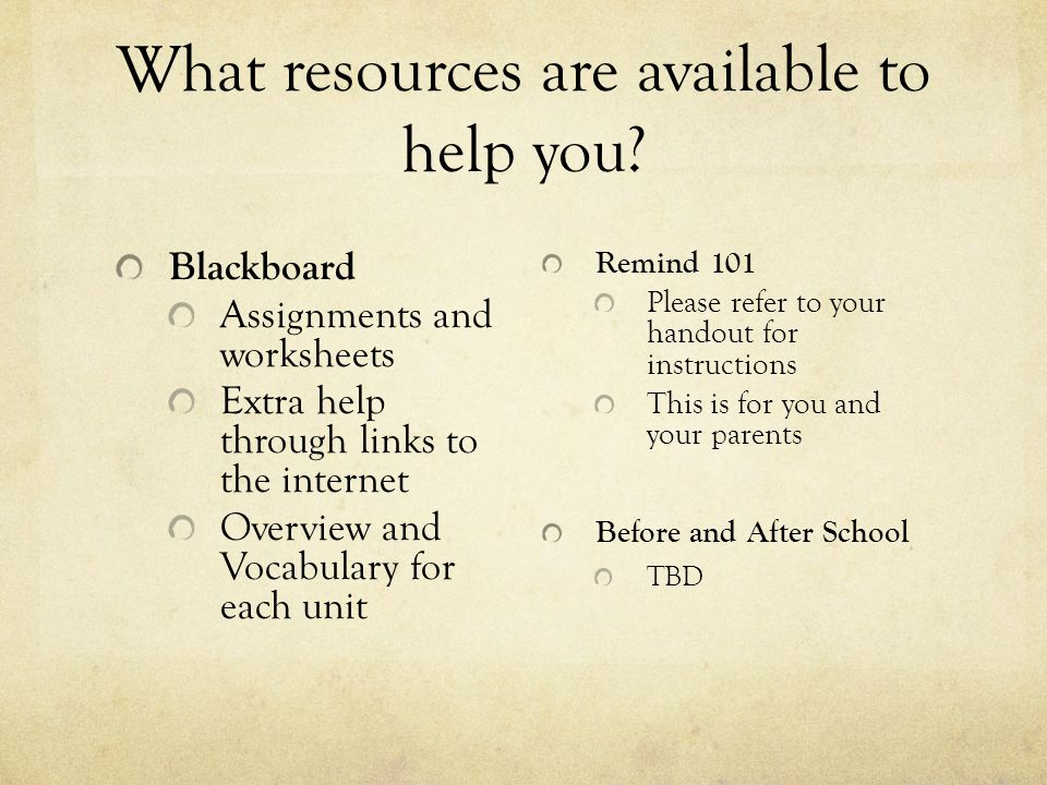 What resources are available to help you