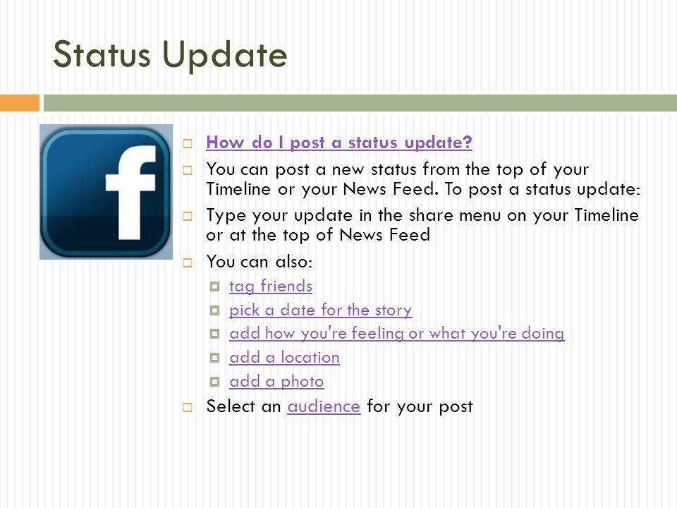 Status Update How do I post a status update