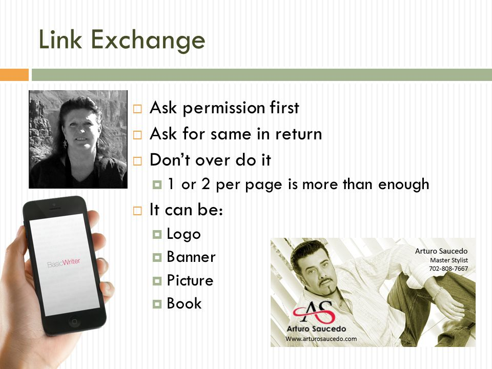 Link Exchange Ask permission first Ask for same in return