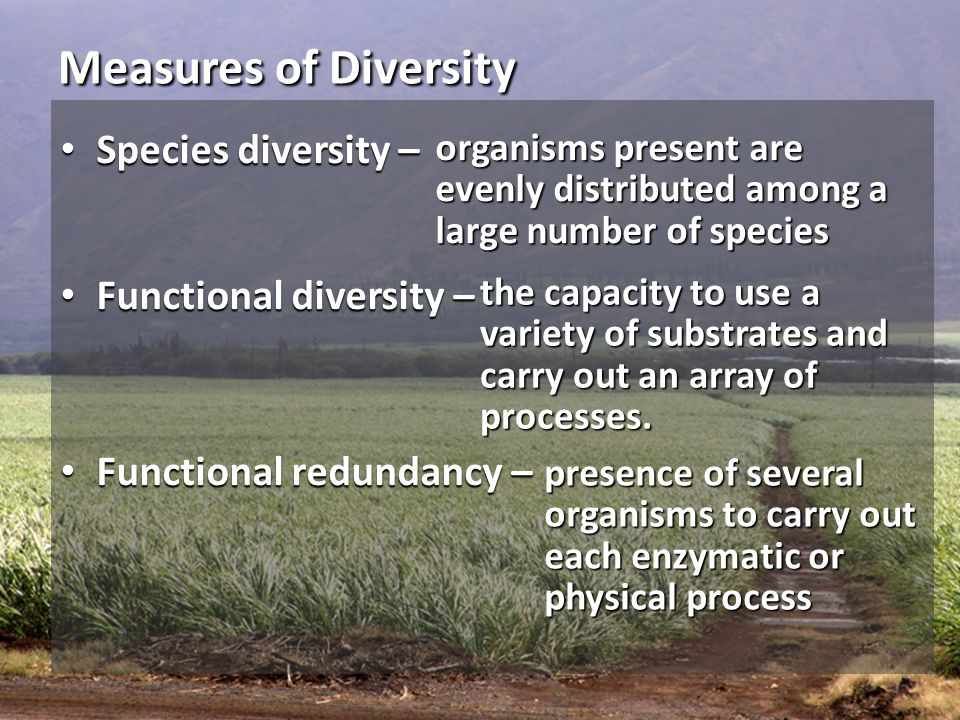 Measures of Diversity Species diversity – Functional diversity –