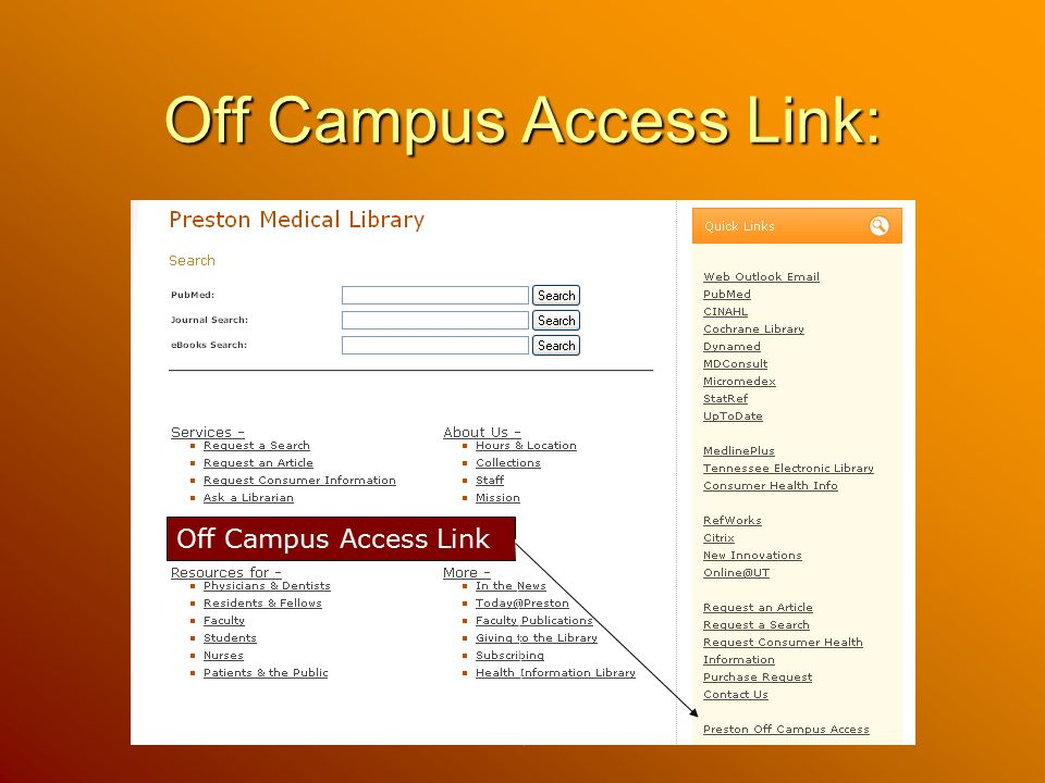 Off Campus Access Link: