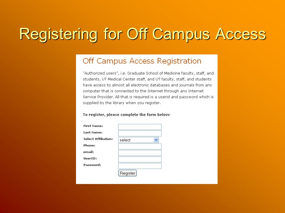 Registering for Off Campus Access