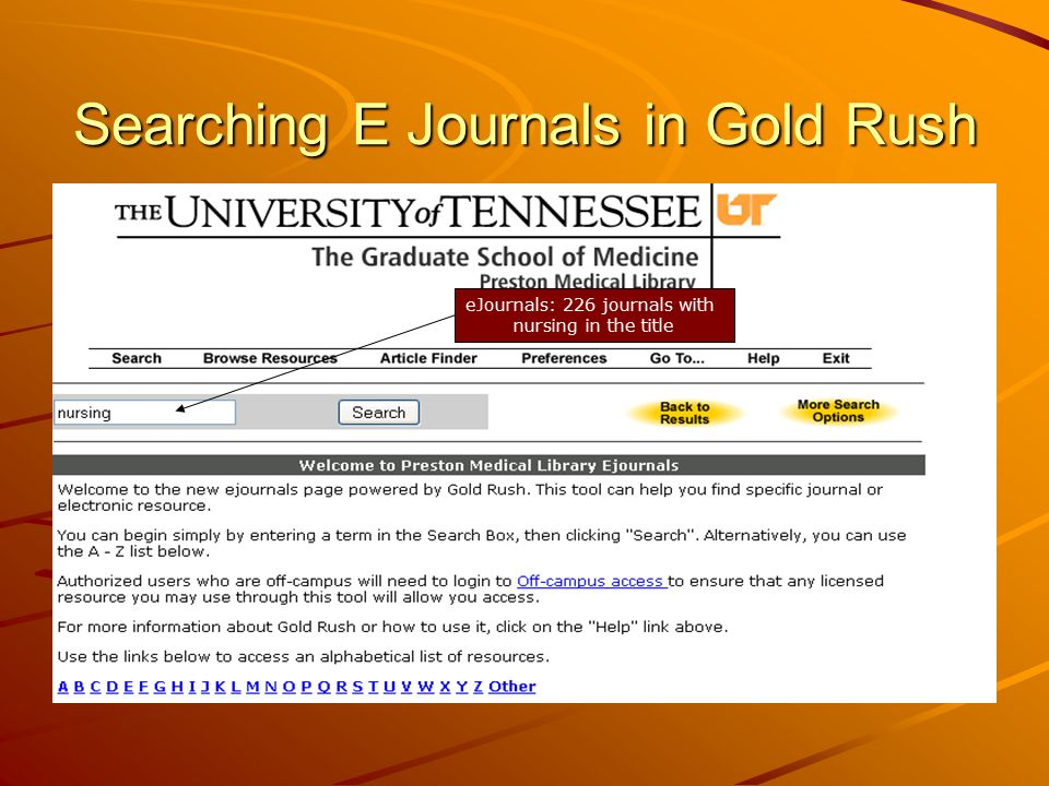 Searching E Journals in Gold Rush