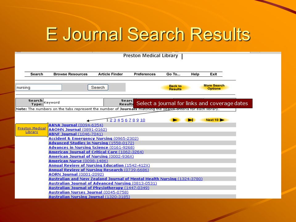 E Journal Search Results