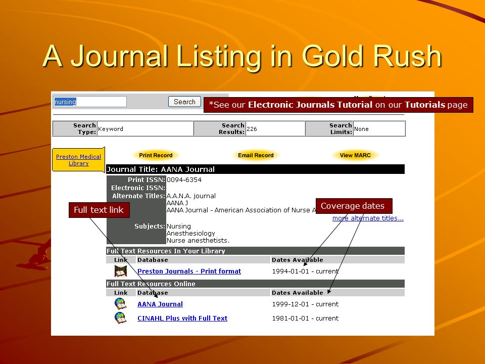 A Journal Listing in Gold Rush