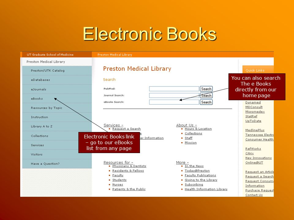 Electronic Books link – go to our eBooks list from any page
