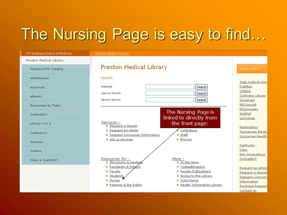 The Nursing Page is easy to find…