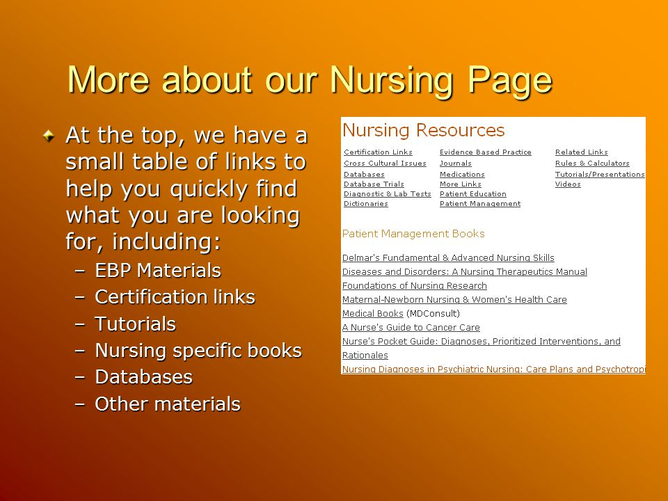 More about our Nursing Page