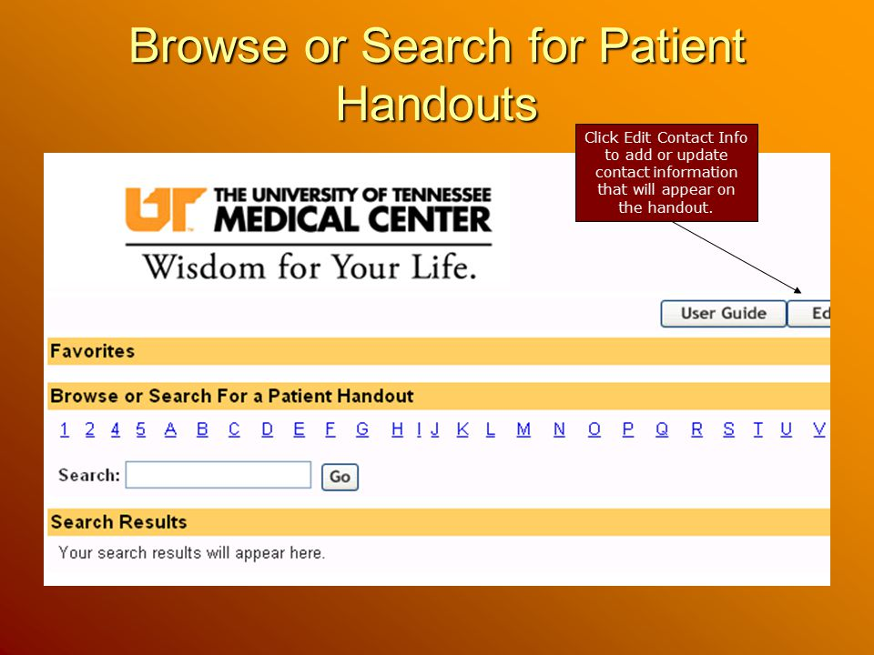 Browse or Search for Patient Handouts