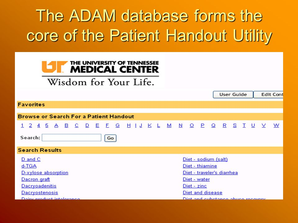 The ADAM database forms the core of the Patient Handout Utility