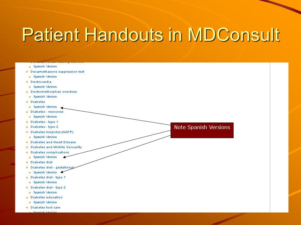 Patient Handouts in MDConsult