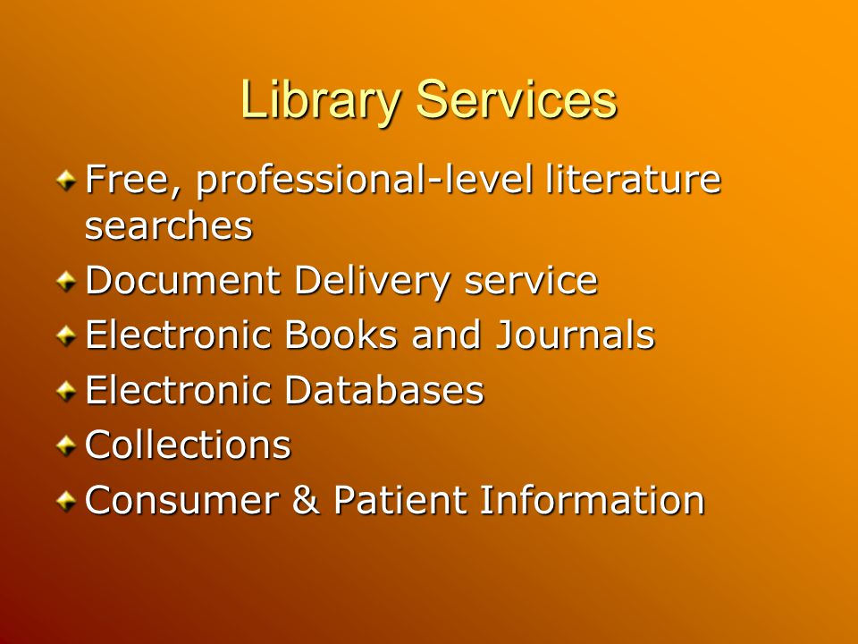 Library Services Free, professional-level literature searches