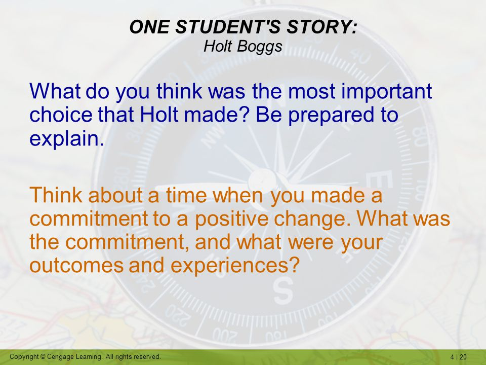ONE STUDENT S STORY: Holt Boggs