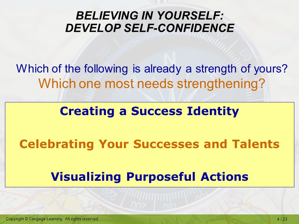 BELIEVING IN YOURSELF: DEVELOP SELF-CONFIDENCE