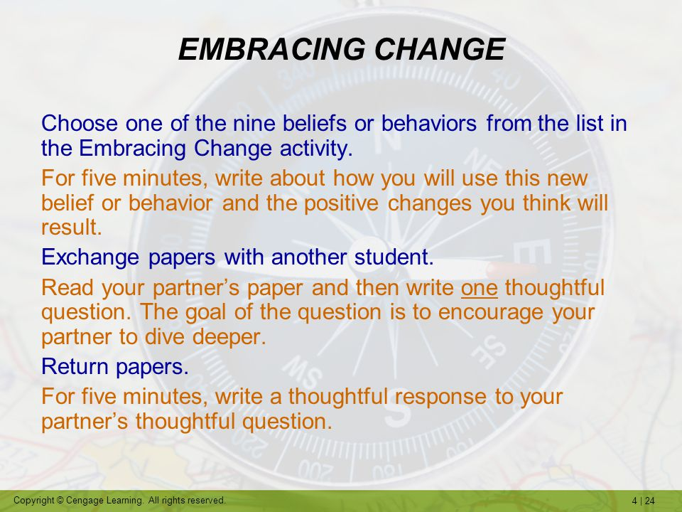 EMBRACING CHANGE Choose one of the nine beliefs or behaviors from the list in the Embracing Change activity.