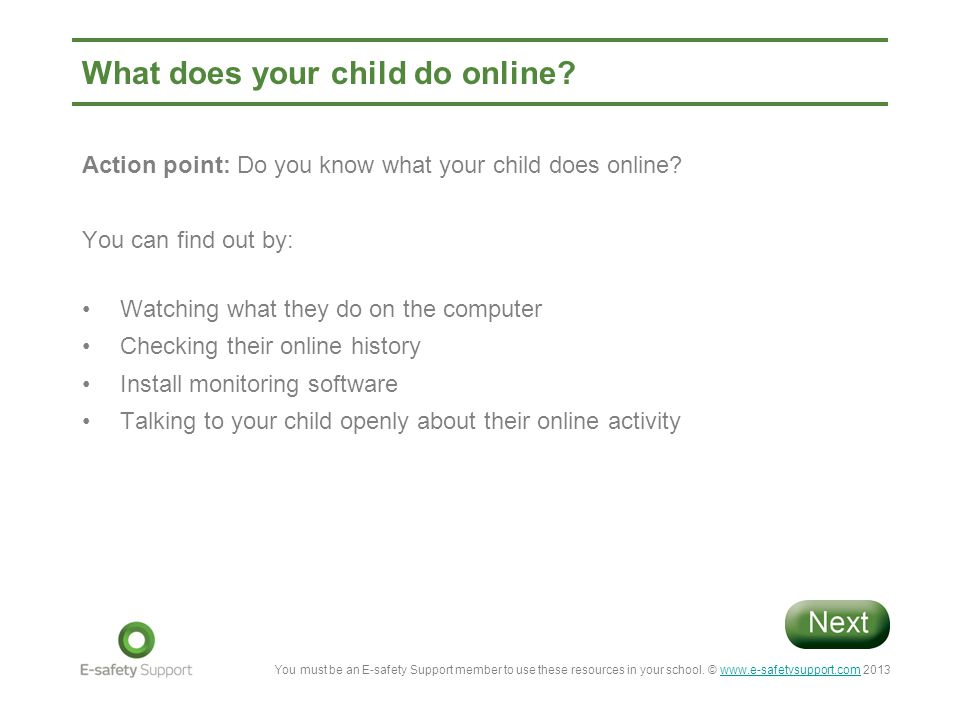 What does your child do online