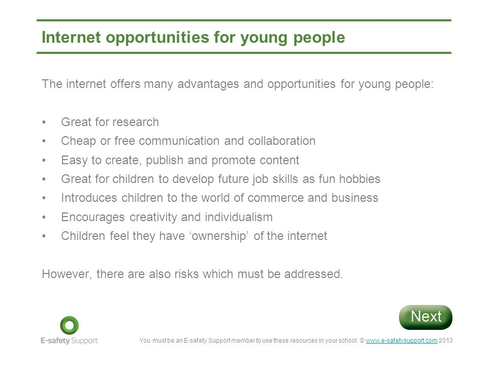 Internet opportunities for young people