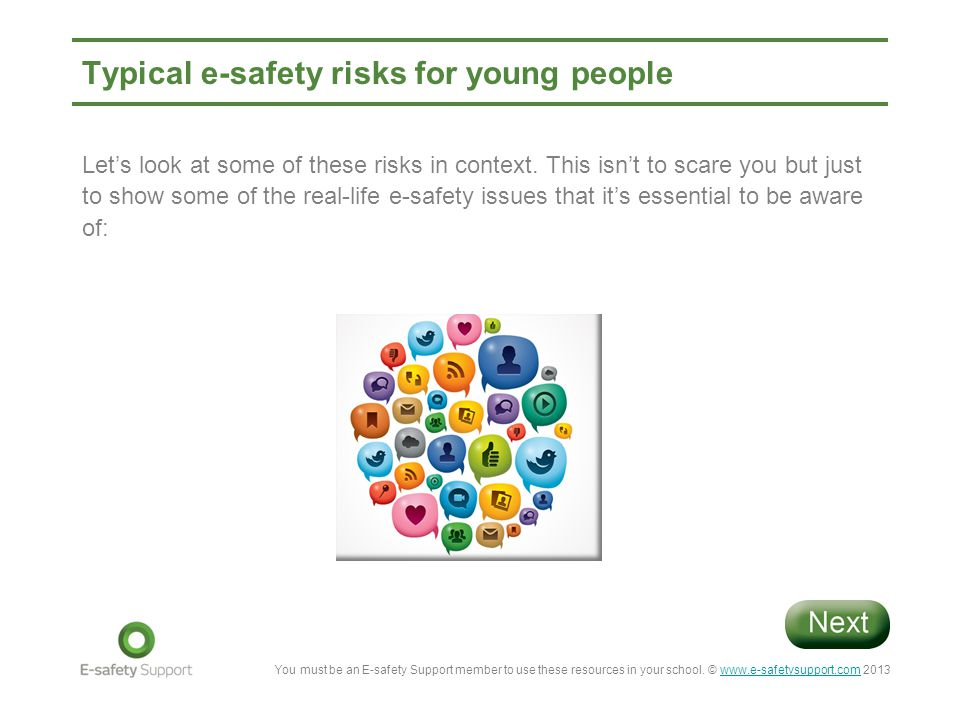Typical e-safety risks for young people