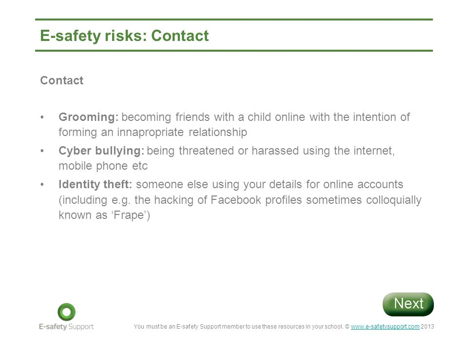 E-safety risks: Contact
