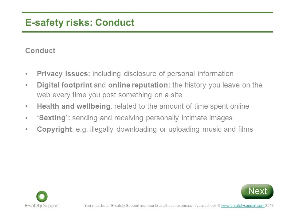 E-safety risks: Conduct