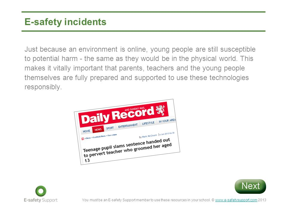 E-safety incidents