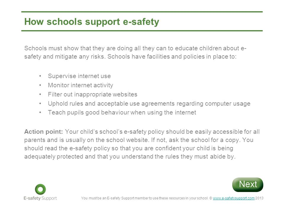 How schools support e-safety
