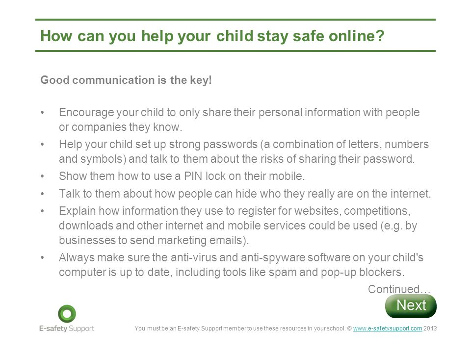 How can you help your child stay safe online