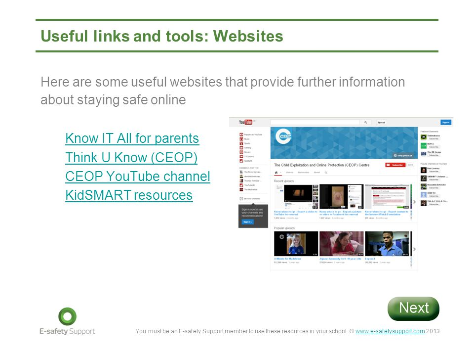 Useful links and tools: Websites