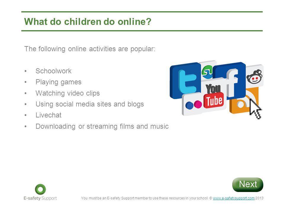 What do children do online