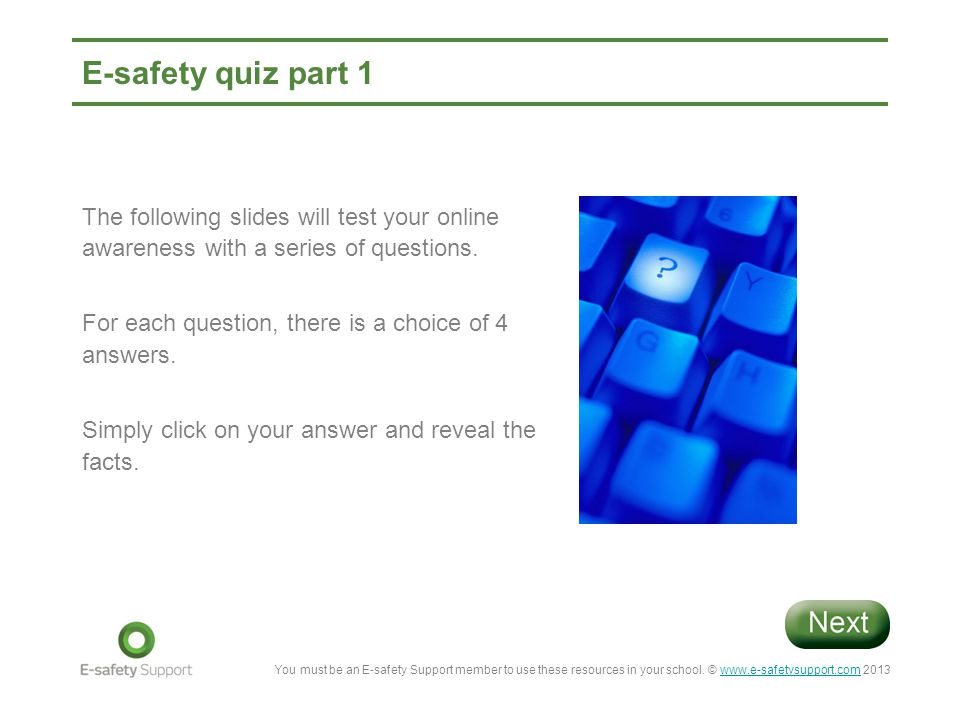 E-safety quiz part 1