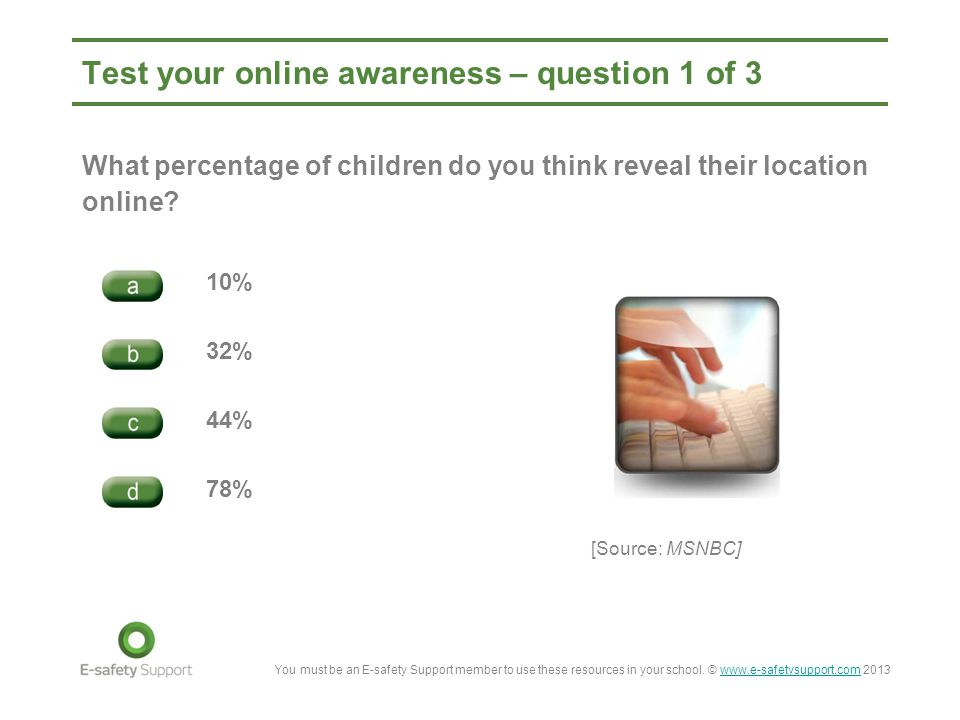 Test your online awareness – question 1 of 3