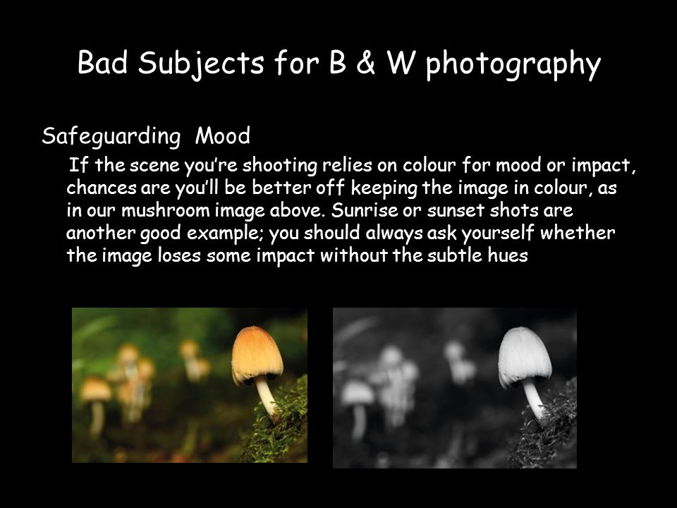 Bad Subjects for B & W photography