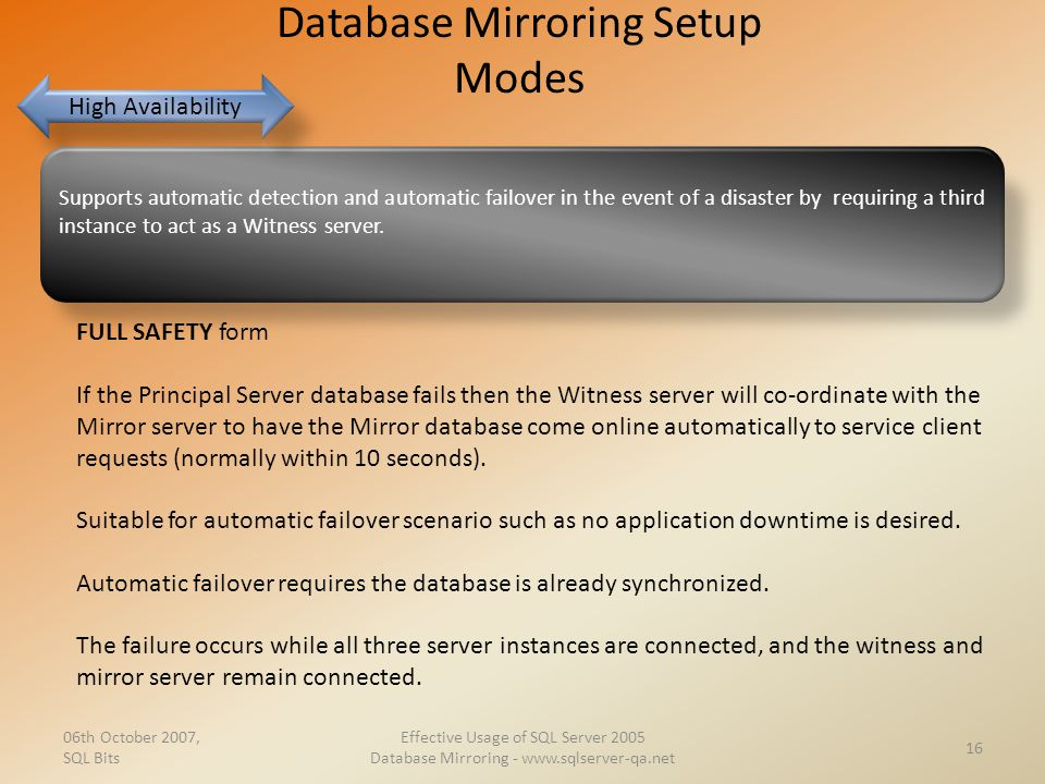 Database Mirroring Setup Modes