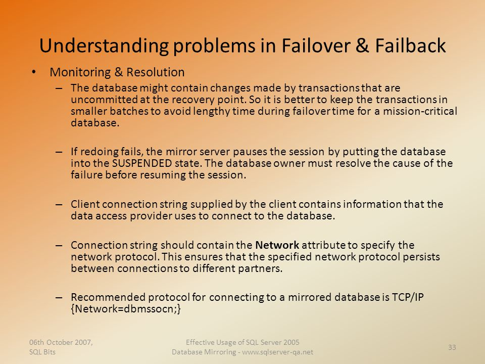 Understanding problems in Failover & Failback