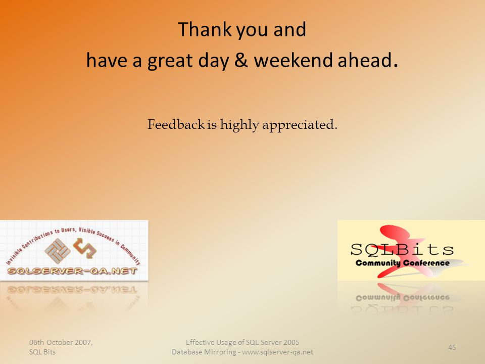 Thank you and have a great day & weekend ahead.