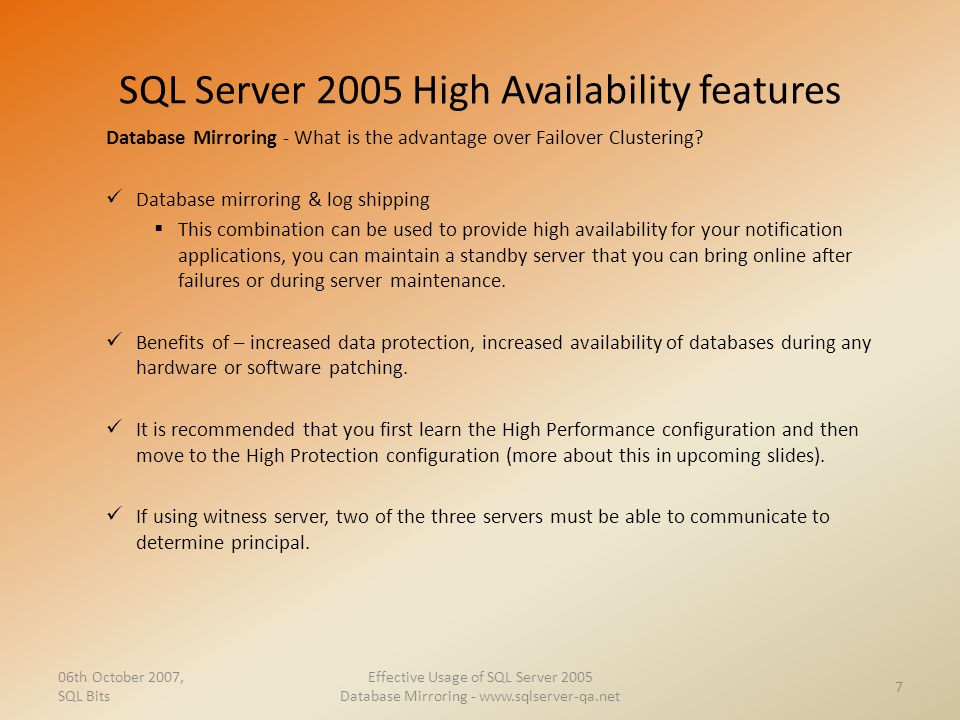 SQL Server 2005 High Availability features
