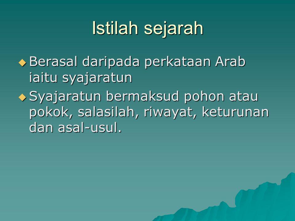 Istilah sejarah Berasal daripada perkataan Arab iaitu syajaratun