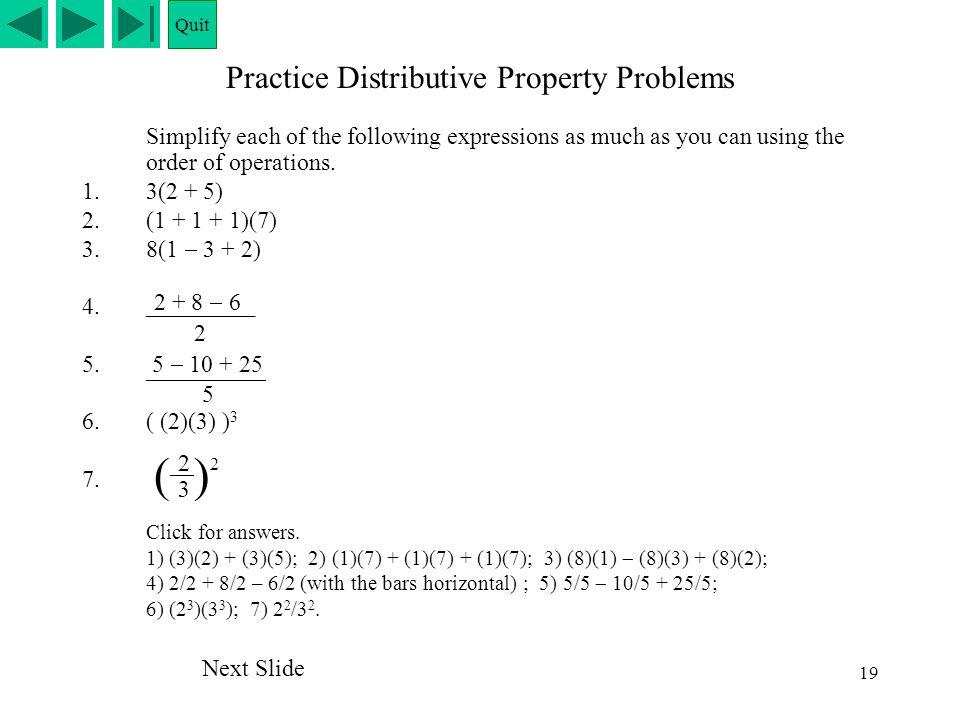 Practice Distributive Property Problems