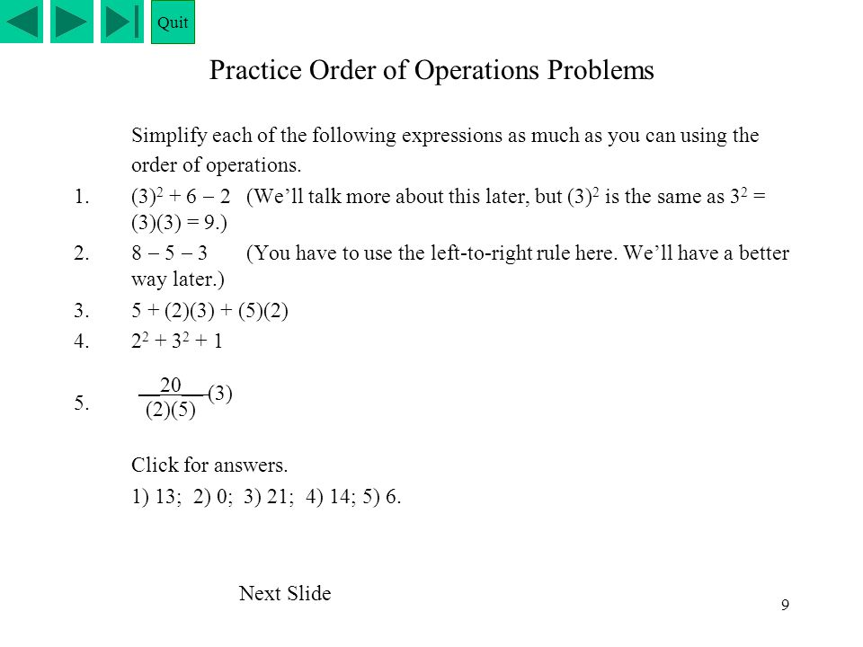 Practice Order of Operations Problems