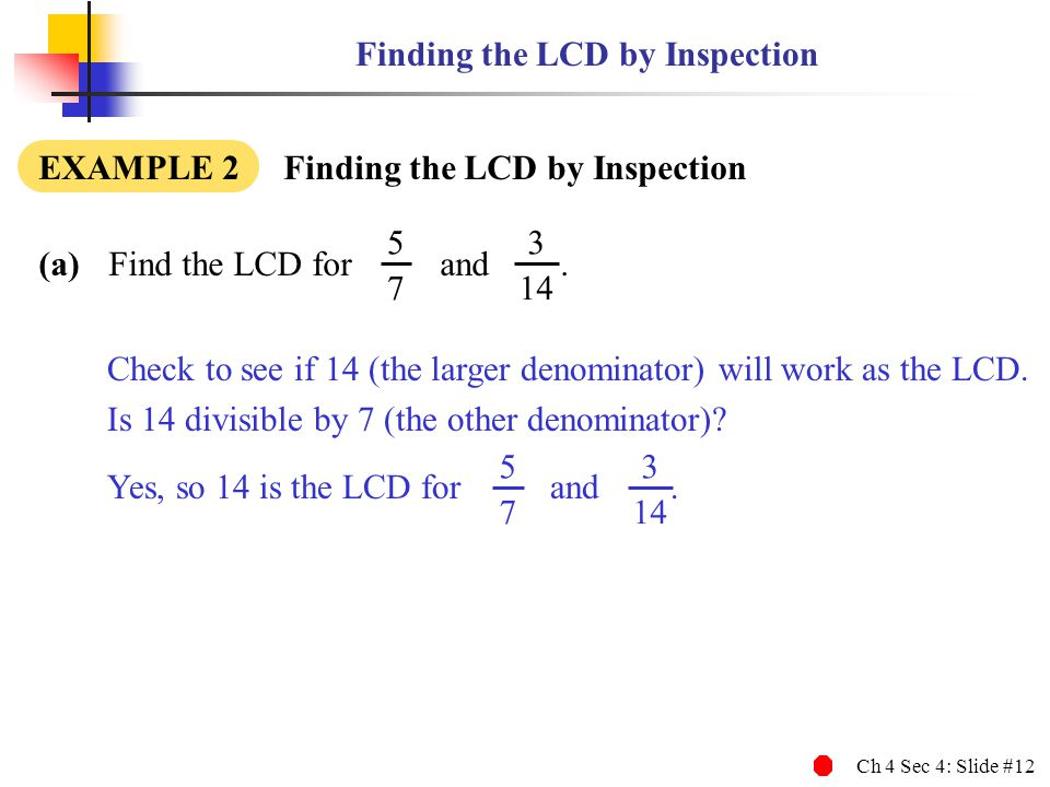 Finding the LCD by Inspection