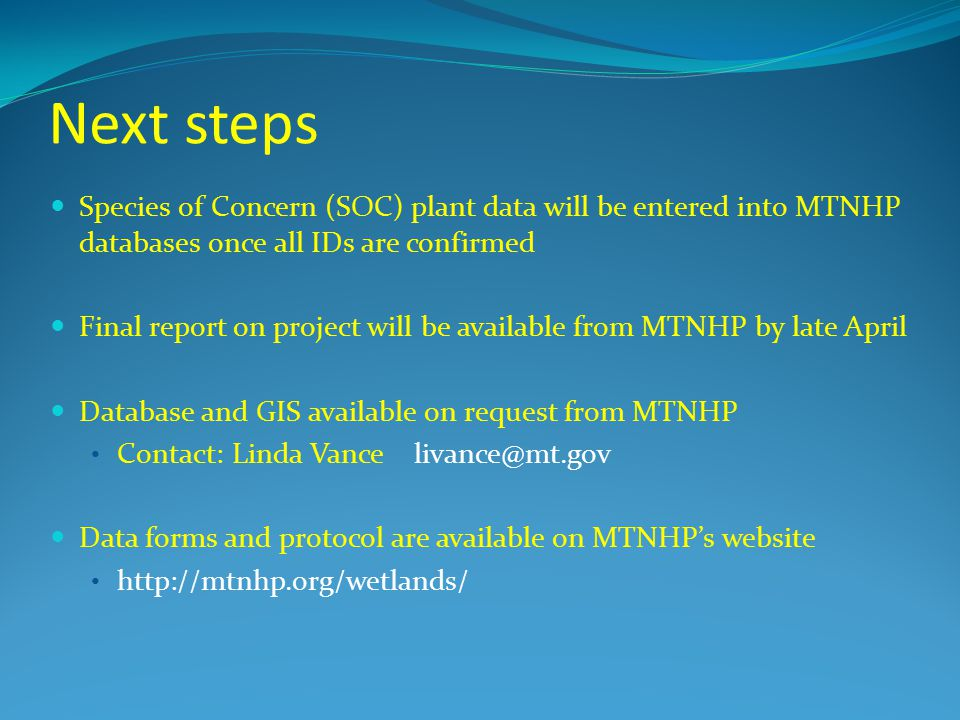 Next steps Species of Concern (SOC) plant data will be entered into MTNHP databases once all IDs are confirmed.
