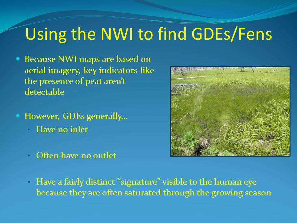 Using the NWI to find GDEs/Fens
